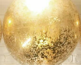 Tiny Gold square Confetti Balloon 60cm giant jumbo latex helium or air confetti filled balloons clear qualatex transparent.