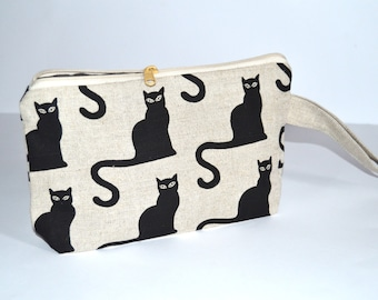 Wristlet pouch - Cats - Material Natural linen - SALE - READY to SHIP