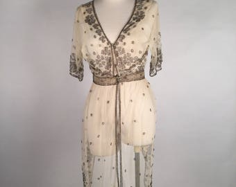 "Vintage Edwardian Sheer Beaded Wrap, Beaded Jacket, Silver Beaded Mesh Fabric, Glass Beads, Edwardian Wedding Dress, Beaded Boho Dress, 28""B"
