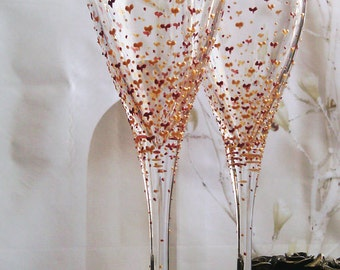Set of 2 hand painted white wine. champagne glasses Valentine's day in gold and copper color