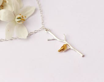 Mother's day gift - Tiny beard on branch necklace - Sterling silver chain necklace -silver and gold - romantic necklace -bridesmaid