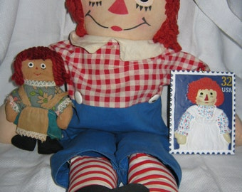 Raggedy Andy Doll /Raggedy Ann Doll/Georgene Novelties/ //Christmas Ornament/Cloth Doll/Old Doll/By Gatormom13