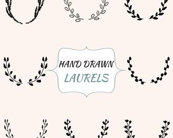 Vector Laurels, Laurel Clipart, Laurels Digital, Hand Drawn Clipart, Wreath Clipart, Vector Wreath, Hand Drawn Laurels, Wedding Laurel