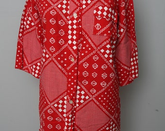 Vintage Red and White Rochelle Modes Cotton Dress