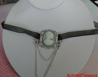 Cameo choker, choker necklace, ribbon choker