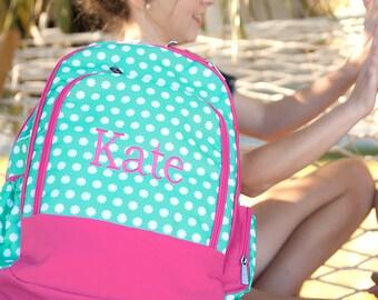 Personalized Green Pink Polka Dot Flower Backpack- Hadley Bloom Polka Dot Backpack- children's-toddler-preschool-teen- back to school