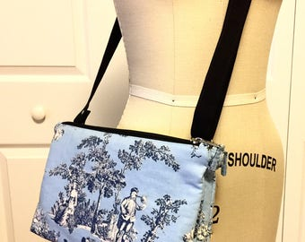 "Blue crossbody Twin zippers bag (Size: 11""L x 7-1/2""H X 2""W)"
