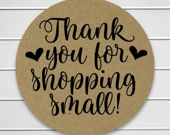 Thank You For Shopping Small! Kraft Small Business Handmade Branding Stickers/Labels (#567-KR)