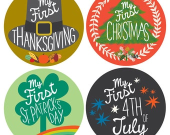 My First Holiday Stickers - Baby Milestone Stickers - Baby Photo Prop - Set of 12