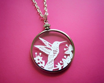 Papercut Hummingbird Necklace- Original Handcut Paper in Glass Pendants with Silver Chain