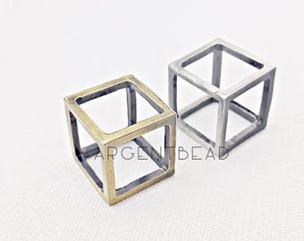 1pc 22*19mm Silver Brass Cube Pendant , Spacer Beads, Open Square Beads, Cube Pendant, Square Cube Necklace AG182