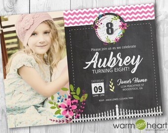 Vintage Floral Girl Birthday Invite|Floral Birthday Party|Chalkboard Birthday Invite|Pink Chevron Invitation|Digital or Print|FREE SHIPPING