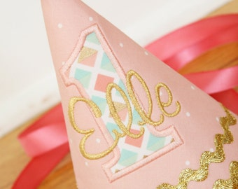 Peach Girl Birthday Hat - Peach, gold, mint, coral  - Girl party hat - Free personalization