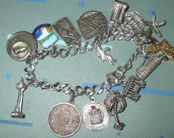 Vintage Sterling Silver Souvenir City Charm Bracelet