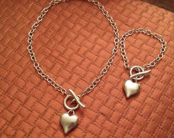Sterling silver heart necklace with matching heart bracelet