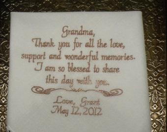 Grandma Wedding Hanky Keepsake Handkerchief By Canyon Embroidery