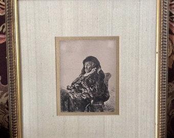 Vente ancienne gravure Portrait de Rembrandt de la mère ca.1631 européen Art hollandais Rembrandt van Rijn