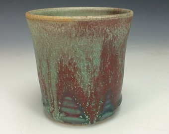 Sea Foam Green Turquoise Teal and Purple Tumbler, Clay Handless Mug, Unique Wine Goblet, Modern Kitchen Home Decor, Tea Wine Goblet