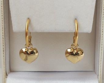 18ct Gold Plated Puffed Heart Drop Hoop Earrings.