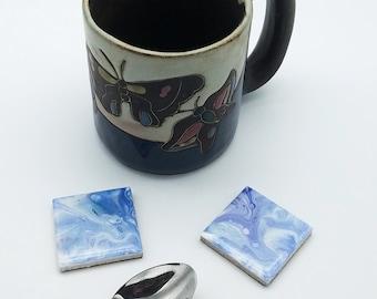 Hand Painted, Spoon Rest, Light Blue, Teaspoon Rest, Coffee Spoon Rest, Set of 2, Tile Spoon Rest, Coffee Tea Accessory, Small Coaster