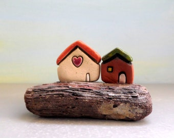 Art & Collectibles Sculpture Figurines, Small Houses Little Neighborhood, I Love You Gift , Housewarming gift , Tabletop Decor Gift For Home