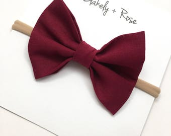 Burgundy Baby Bow, Deep Red Baby Bow, Red Baby Bow, Baby Bow on Nylon Headband, Nylon Baby Bow, Girls Bow Clip, Newborn Baby Bow, Cotton Bow