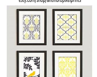 Yellow Greys White Damask Wall Art Vintage / Modern Inspired -Set of 4 - 5x7 Prints -  (UNFRAMED)