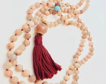 I    R I S E ~ Knotted Mala Necklace, Yoga Jewelry, Mala Necklace, Boho Jewelry, Meditation Necklace