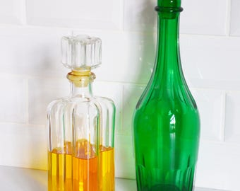 Mid century glass decanter bottle