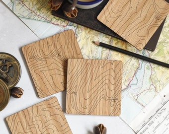 Brecon Beacons Map Coasters: laser etched maps on oak, a gift for walkers, hikers, dads & groomsmen
