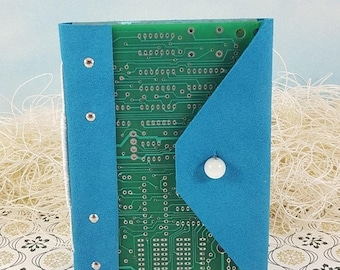 On Sale Computer Lover Circuit Board Journal Notebook with Blue Leather Wraparound Cover