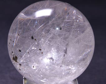 "Best Clear Silver Rutilated Quartz Crystal Sphere/Energy Crystal Quartz/Collection/specimen(Size:1.52"",38mm,75g)#1041"