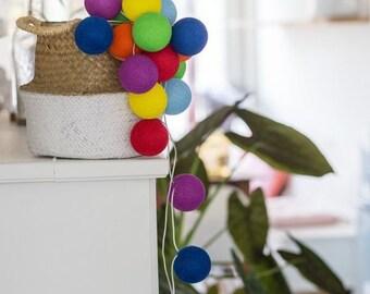 50 Lights CottonBallLights Rainbow Handmade