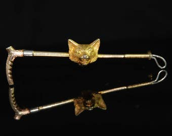 Victorian Gold and Platinum Fox Crop Brooch - FREE WORLDWIDE SHIPPING