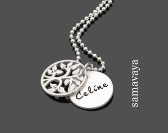 TINY FAMILY TREE 925 Silver Chain silver name necklace with engraving tree of life