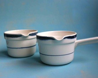 Rorstrand sauce pan Swedish vintage design Fjord blue white quality soup bowl eighties