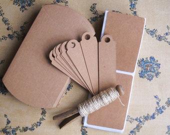 DIY gift wrapping kit -  kraft pillow boxes