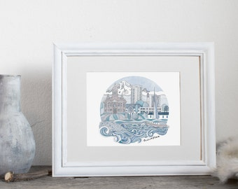 Bellingham City Art, City Illustration, Watercolor Art Print