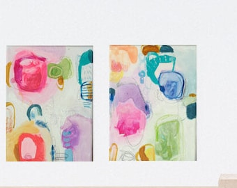 abstract painting on canvas, pink, original painting, blue, Wall Art, green, abstract art