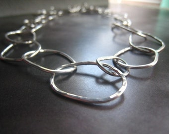 Disheveled Hoop Necklace sterling silver chain necklace