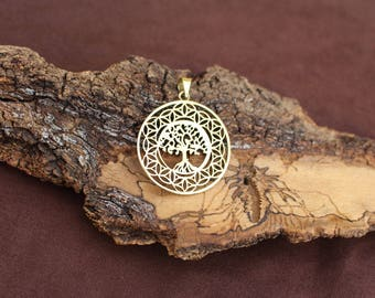 Tree Of Life Geometry Pendant, Flower Of Life 3D Brass Pendant, Tribal Brass Pendant, Sacred Geometry, Pendentif Arbre De Vie, Fleur De Vie