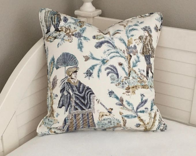 Thibaut Royale Toile in Turquoise and Navy Designer Pillow Cover with Self Welt  (Design 2)- Square, Euro and Sham Sizes