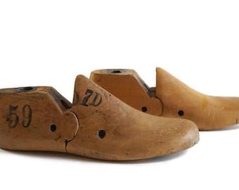 wooden shoe forms, cobbler molds, shoemaker wood molds, shoe lasts, vintage wooden child's shoe