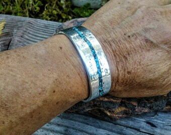 Stream Turquoise Silver Cuff Bracelet.  Aluminum Polished.  2mm X 18mm Thick and Wide.