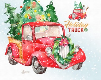 Holiday Truck. Watercolor Christmas clipart, vintage, retro truck, gifts, winter, Christmas tree, snowman, antlers, xmas, merry, greetings