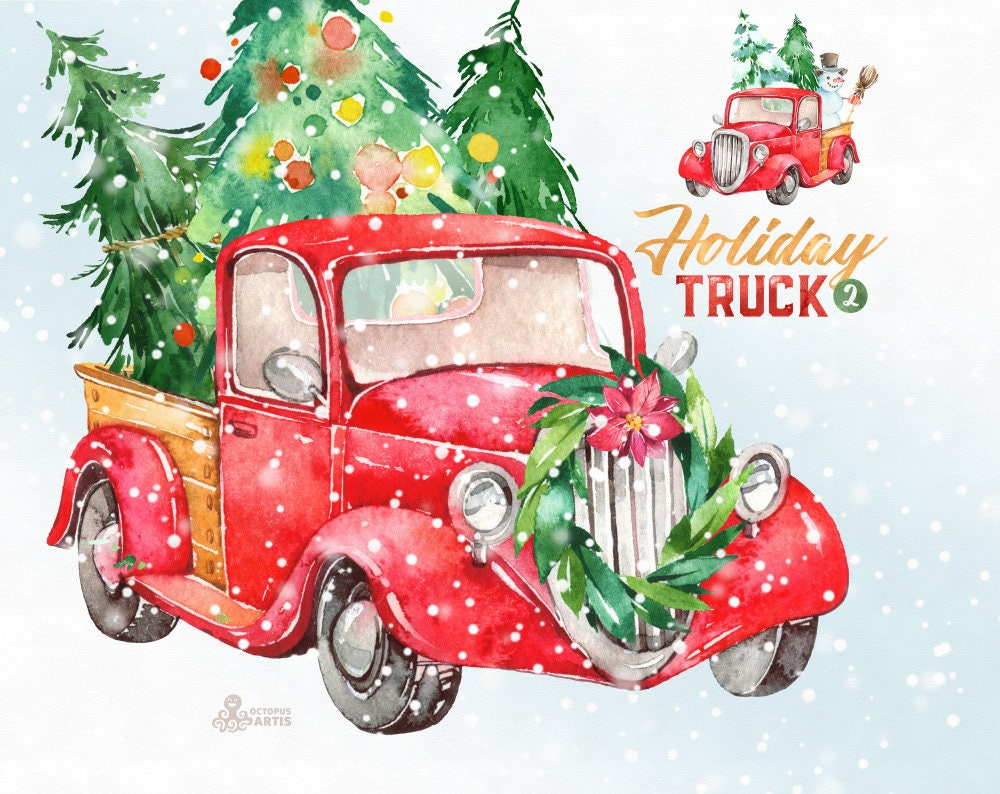 Holiday Truck. Watercolor Christmas clipart vintage retro