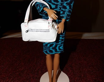 Vintage white pleather large white purse with simulated zipper detail for Fashion Dolls - LWP
