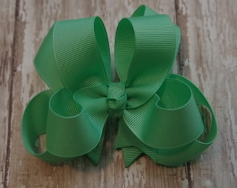 """Girls Hair Bow Mint Green 4"""" Boutique Layered Hairbow"""