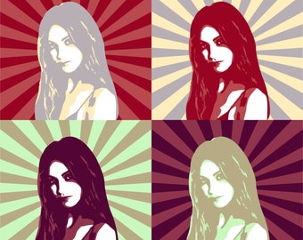 Custom vector Pop Art Portrait 4 in 1 from your Photo