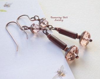 Long Pink Earrings, Czech Glass Bead Drop, Linear Jasper Dangle, Artisan Copper Jewelry